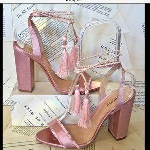 Free People Shoes - Schutz Satin Ankle Tassel Wrap BlockHeel Sandal 10
